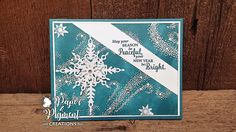 Christmas Card using Stampin up Products.  Star of Light Stamp Set and Dies.  Island Indigo and Whisper White Card Stock.  White Glimmer Paper for the dimensional stars. Used SU Iradescent Ice Embossing Powder for Emboss Resist with Island Indigo Ink.