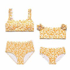 204fd5840e KHM Custom Wholesale Dropshipping Yellow Floral Retro Parent Child Swimwear  Bathing Suits Two Piece Swimwear