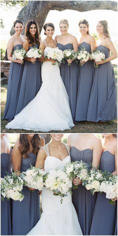 Gray bridesmaid dress, stormy purple dress, long chiffon, strapless // Virgil Bunao Photography