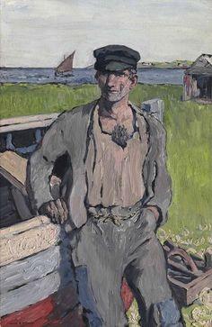 The Boat Builder by Jack Butler Yeats, 1913 Gottfried Helnwein, Irish Painters, Jack B, Castles In Ireland, Irish Culture, People Figures, Walker Art, Boat Painting, Art Society