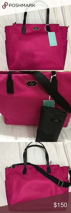 SALE Kate spade diaper bag Kate spade tanden baby bag in pink and black. Optional crossbody strap. Black leather handles. Comes with changing pad. New with tags. kate spade Bags Baby Bags