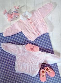 baby knit pattern sweater, cardigan booties hat sirdar 3844