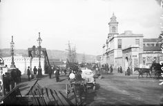 Old City Hall on Albert Quay. Note the fine gate with stone arches where trains entered the Albert Road railway station. Also see street nameplate for Anglesea St. Cork Ireland, Ireland Travel, Images Of Ireland, Cork City, Old Paris, Photographic Studio, Nice View, Small Towns, Old Photos