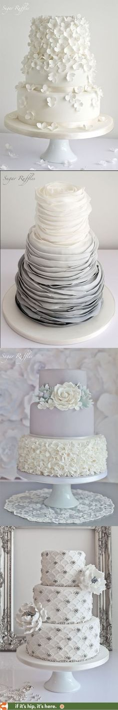wedding cakes in white, grey and silver by Sugar Ruffles