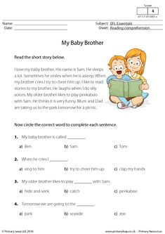 ESL Reading Comprehension - My Baby Brother Kids Reading, Reading Activities, Teaching Reading, English Reading, English Writing, English Lessons, Learn English, English English, Reading Comprehension Worksheets