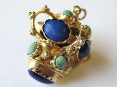 Vintage 18kt Yellow Gold Lapis Turquoise Charm Fob Baubble