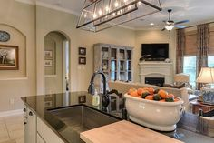 Traditional Kitchen with Fulton Foyer Linear Suspension, Black Galaxy Granite, MS International