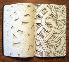 "Babel, marker and cut paper, 2011 reminds me of Battenburg Lace, which I used to love to work with/design...How wonderful it would be for me to include my own in an altered book, themed on ""Windmills of My Mind""."