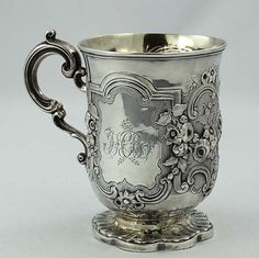 Engraved monogram silver cup