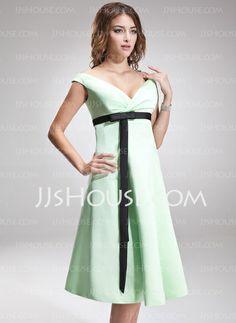 Bridesmaid Dresses - $89.99 - Empire Off-the-Shoulder Knee-Length Satin Bridesmaid Dress With Ruffle Sash (007001474) http://jjshouse.com/Empire-Off-The-Shoulder-Knee-Length-Satin-Bridesmaid-Dress-With-Ruffle-Sash-007001474-g1474