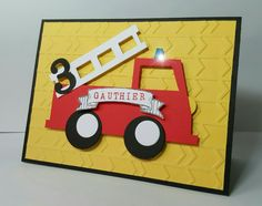 Carte anniversaire Pompier Birthday Scrapbook Layouts, Firefighter Birthday, Birthday Cards For Men, Card Making Techniques, Kids Cards, Anniversary Cards, Fire Trucks, Kirigami, Boys