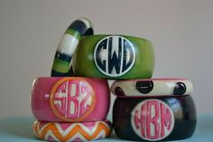 omg LOVE these monogram-able bangles and everything else from preppy paper girl