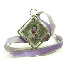 Amethyst Postage Stamp Necklace Soldered Pendant Tourmaline & Amethyst - Brown Eyed Rose: Handmade jewelry and gifts for every occasion