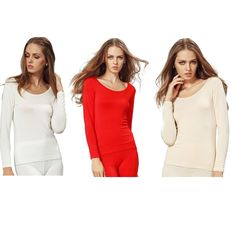 Liang Rou Women's Plain Basic Round Neck Stretch Long Sleeve Thin Thermal Top * You can get more details here : Hiking clothes Neck Stretches, Hiking Clothes, Fashion Lingerie, Lady, Long Sleeve, Womens Fashion, Lounge