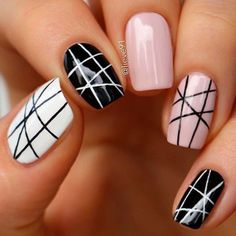 Nail Designs Appropriate For Classic Monochromatic Outfit ❤️ ❤️ Sometimes it may seem that business casual nails are very strict and boring. But we are here to tell you that the list of business nail art ideas is pretty vast. Nail Art Designs, Short Nail Designs, Stripe Nail Designs, Casual Nails, Stylish Nails, Nail Art Stripes, Striped Nails, Business Nails, Business Casual