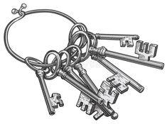 Illustration about Vector illustration of keys on keyring. Illustration of inside, cold, bunch - 11209781 Antique Keys, Vintage Keys, Illustrations, Graphic Illustration, Key Tattoo Designs, Chicano Tattoos Sleeve, Image Key, Key Tattoos, Watercolor Tips