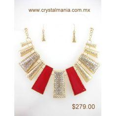 Set de collar y aretes en base dorada con cristales y detalles en tono rojo estilo 30230