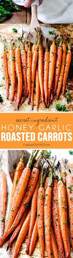 dinner side dishes Tender, sweet and savory Secret Ingredient Honey Garlic Roasted Carrots are the most delicious carrots and easiest side dish EVER with only 10 minutes prep! I eat these like candy! Carrot Recipes, Vegetable Recipes, Vegetarian Recipes, Cooking Recipes, Healthy Recipes, Potato Recipes, Pasta Recipes, Crockpot Recipes, Soup Recipes