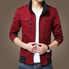 NEW Autumn/Winter Men's Cotton Mandarin-Collar Fashion Casual Jacket M-4XL 6 Colors