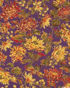 Autumn Elegance - Chrysanthemum Glow - Dk Purple/Gold