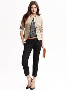 Banana Republic Heritage Cotton Military Jacket, Dot Print Pleated Tank, Hampton Fit Crop