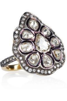 Sterling silver, 14-karat gold-plating- 3.63-carat diamonds}