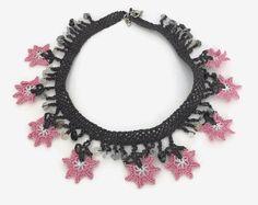 Crochet Necklace Pink Flower Necklace Crochet Necklace Oya Lace Necklace Floral Jewelry, Unique crochet Jewelry, Statement Necklace Boho Fab