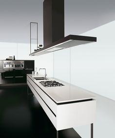 Kitchen with island without handles HI-LINE 6/HI-LINE by DADA   design Ferruccio Laviani