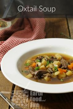 Rich and broth-y, this simple oxtail soup recipe is popular throughout Germany, and is most often served at special occasions or holiday meals. It makes a wonderful soup on a cold day though, and is very cheap to make! Best Soup Recipes, Whole Food Recipes, Meat Recipes, Healthy Breakfast Recipes, Healthy Recipes, Healthy Soup, Oxtail Recipes, Jamaican Recipes, Canadian Food