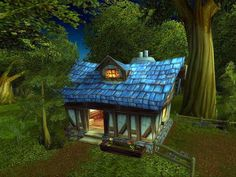 Little cottage in the woods. Love the blue roof!