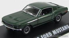 GREENLIGHT 86431 Scale 1/43  FORD USA MUSTANG GT390 - BULLITT - STEVE McQUEEN - 1968 GREEN MET