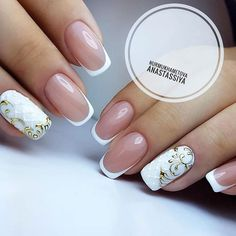 21 Ideas of Luxury Nails To Really Dazzle Our ideas of luxury nails will give you a ton of inspiration for your next nail appointment. For the last couple of years nail rhinestones designs and nail studs designs remain popular. Elegant Nail Designs, Elegant Nails, Nail Art Designs, Gold Nails, White Nails, French Nails, Gorgeous Nails, Pretty Nails, Nail Art Arabesque