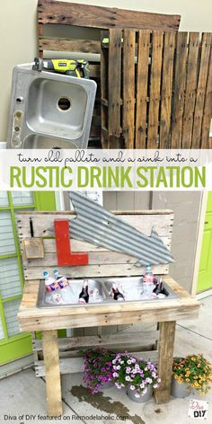 Repurpose a couple of old pallets and an old sink into a pallet drink station, perfect for summer entertaining on your patio!