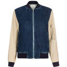 Paul Smith Women's Denim Bomber Jacket With Contrasting Sleeves