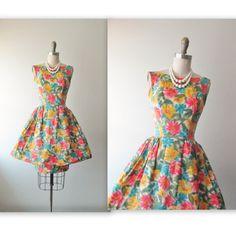 50's Silk Dress // Vintage 1950's Floral Print Silk Cocktail Party Mad Men Bubble Skirt Wiggle Dress XS
