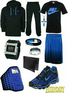 Men's fashion blue and black nike outfit