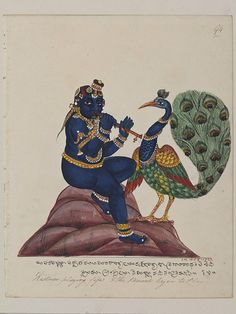 Krishna as a child playing the flute to a peacock. From a series of 100 drawings of Hindu deities created in South India.