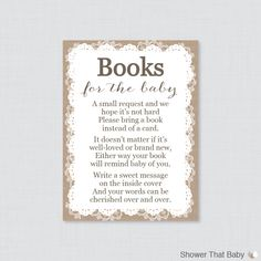 Printable Burlap And Lace Baby Shower Bring A Book Instead Of A Card  Invitation Inserts Help