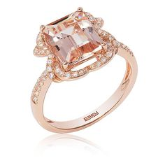 EFFY Emerald-Cut Peach Morganite & Diamond Ring in 14k Rose Gold