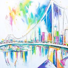 Story Bridge in Technicolour Colorful Animals, Fair Grounds, Adventure, Abstract, Artwork, Artist, Bridge, Fun, Painting