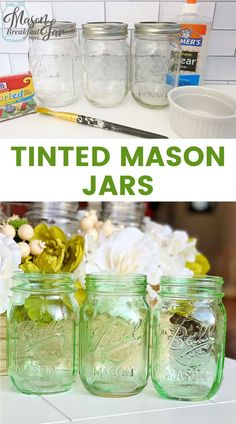 Do you want a simple yet stunning way to get your home ready for spring? Tinted Mason jars are an easy way to add a pop of color for any season. With just a few materials (Elmer's clear glue, food coloring and a paint brush) you can turn a plain glass jar into a vintage looking masterpiece. Customize these DIY home décor crafts by changing the color to match your home's décor. #tintedmasonjars #masonjarcrafts #masonjarcenterpieces  #springdecor