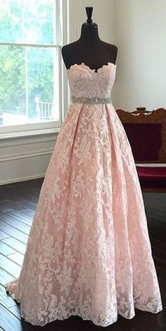 Gorgeous Strapless A-line Pink Long Lace Prom Dress Evening Dress - Thumbnail 1