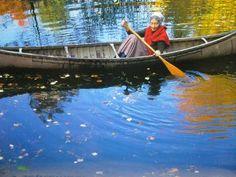 Tasha Tudor canoeing