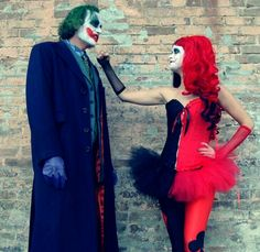 Joker & Harley Quinn Costumes---whoa! This will be almost exactly what we will look like tonight!