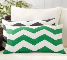Chevron Indoor/Outdoor Lumbar Pillow | Pottery Barn W/ navy chair in living rm