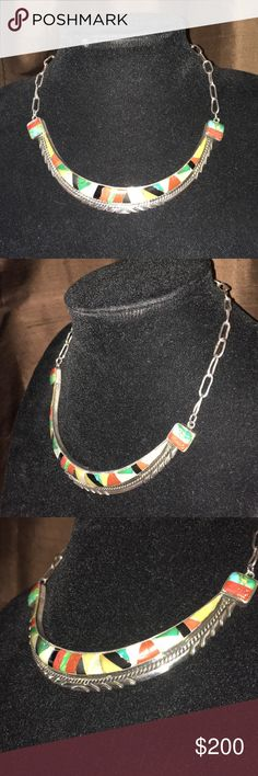 """Navajo tribe sterling silver necklace This necklace was made by Feather H. Craig. This is a vintage sterling silver beautiful necklace. (IHMSS means """"Indian handmade sterling silver"""") Jewelry Necklaces"""