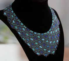 Blue aqua seed bead necklace, beaded necklace beadwork necklace, handmade original design, statement fringe bib necklace, 15/0 seed beads