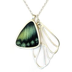 "Alcides Agathyrsus Necklace // made from a real butterfly wing! ""Papillon Belle crafts intricate, brilliantly hued jewelry using sustainably farmed butterflies, and helps support environmental efforts as well as the farmers and families who breed each species"""