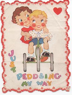 Unused 1950s era Valentine, very creased, Just Peddling My Way by VintageNEJunk on Etsy