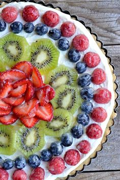 Fresh Fruit Tart with Creme Fraiche Whipped Cream | mountainmamacooks ...